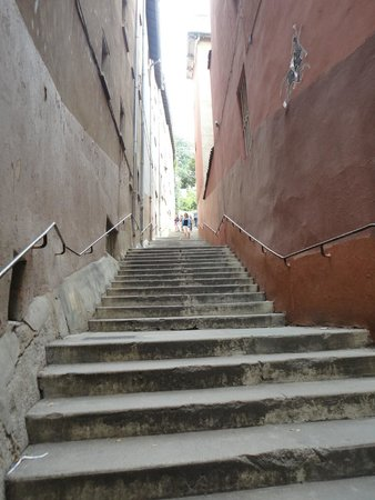 Basilique Notre Dame de Fourviere: Stairs to the Cathedral complex entrance