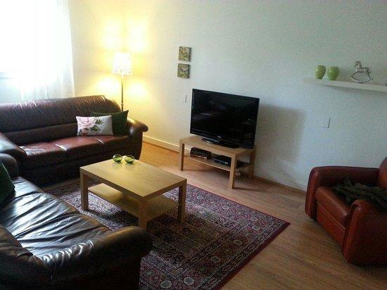 Embassy Luxury Apartments: Lounge, apartment 110. Many UK TV channels!