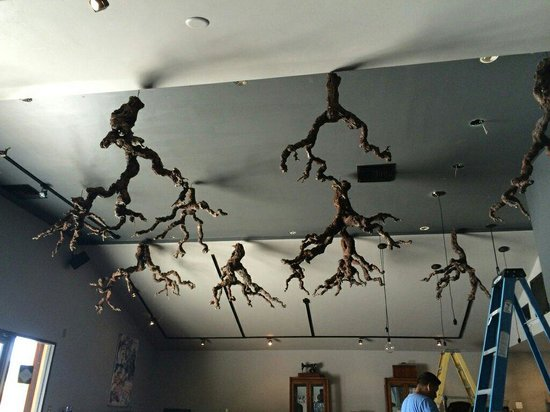 Cypher Winery : New ceiling art and fixtures, almost in place...