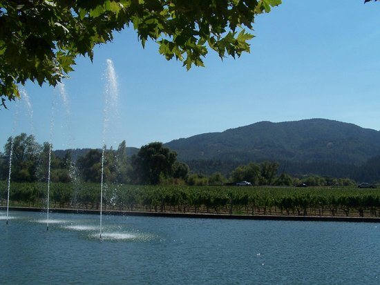 Alpha Omega Winery: Alpha Omega - fountain and hills