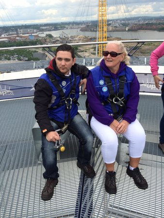 Up at The O2: Me and my son on the viewing platform.