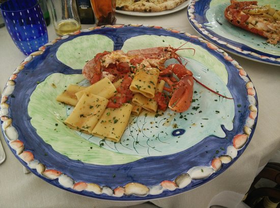 Lo Zodiaco: Half (shared) portion of paccheri with live blue lobster