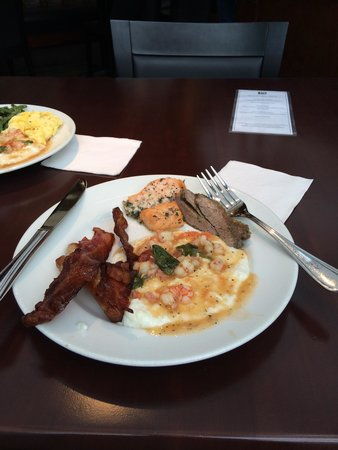 Mimosa Grill: Shrimp and grits--not the typical cream based one that I'm used to but really delicious.  Bacon,