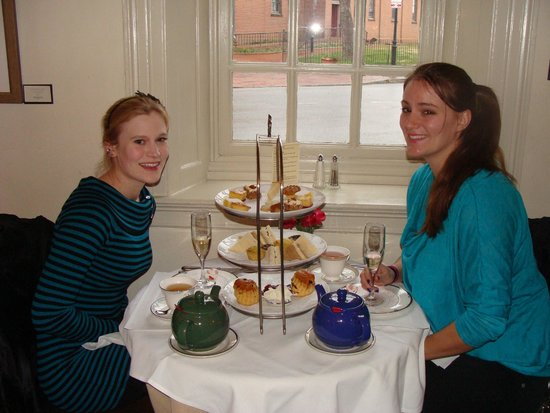 Reynolds Tavern : My friend and I with our teapots and selection of goodies.
