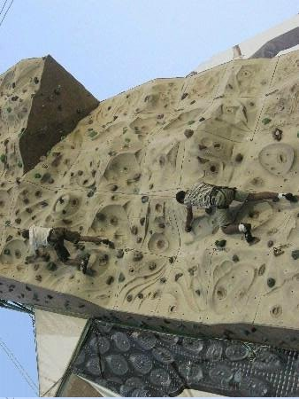 Olympus climbing wall: going up