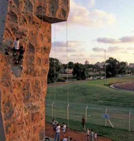 Olympus climbing wall: the wall, great view at the sunset