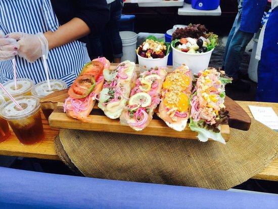 Ferry Plaza Farmer's Market: Smoked salmon sandwiches
