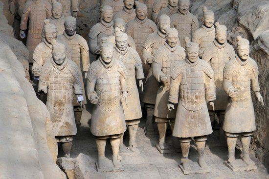 The Museum of Qin Terra-cotta Warriors and Horses: Standing about 20 feet away on a special viewing platform, away from the jostling crowds above,