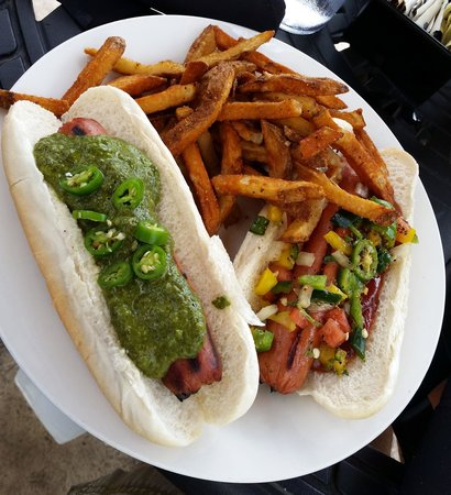 Black Bear Bistro : Green Curry Hot Dog and 5 Pepper w/BBQ Hot Dog with a side of seasoned fries