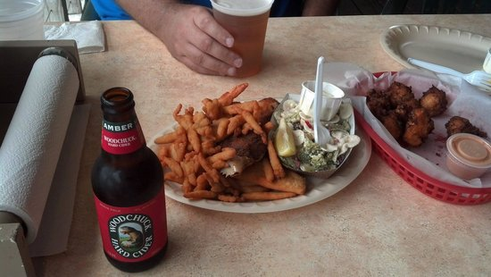 Our Deck Down Under: Seafood Feast, Conch Fritters and our beers