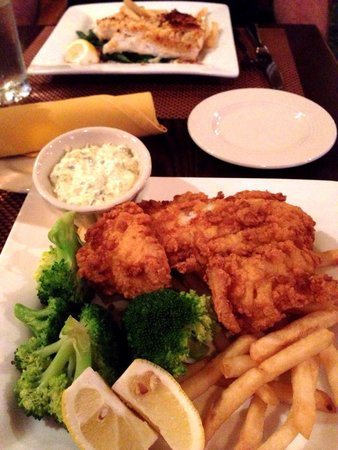 Tavern on the Green: Baked Haddock (back ground) and Fried Haddock - both with excellent French fries.