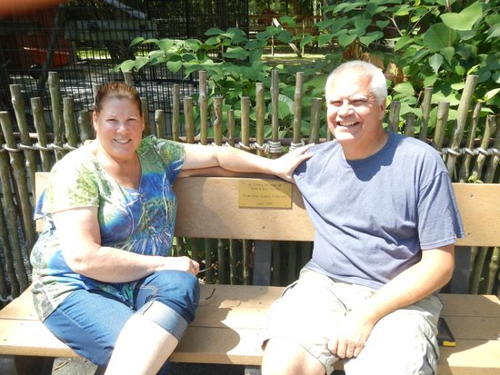 Cape May County Park & Zoo: My wife and I sitting on my parents' bench