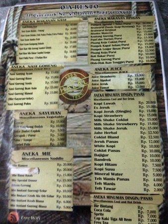 Amaris Hotel Cimanuk: The menu from the restaurant across the hotel.