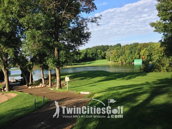 Stonebrooke Golf Club: View from the tee box on the boat hole (8)