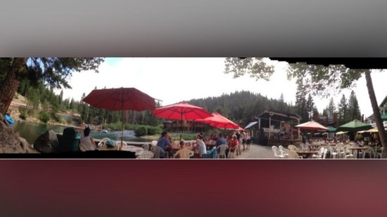 Tahoe City - South/North Trailheads: Riva Ranch a Patio Bar for snack and drinks. End of rafting tour here. July 2014.