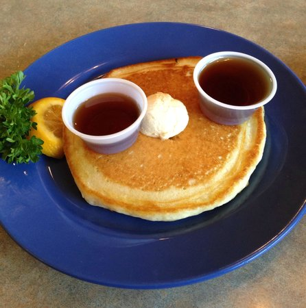 The Antler's Restaurant: Blueberry pancake.  Antlers Restaurant, Libby, MT
