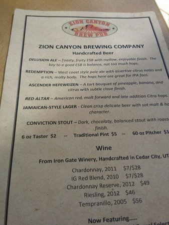 Zion Canyon Brew Pub : Beer list