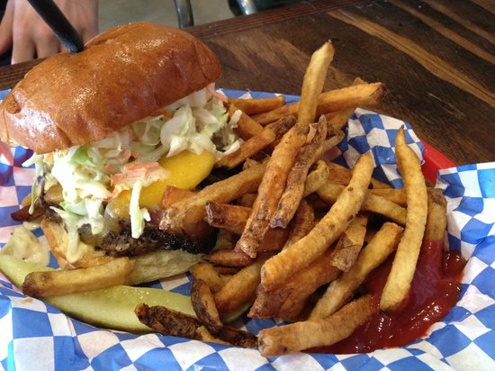 The Local Cow: The special of the day: burger with bbq brisket and cole slaw. Delicious!