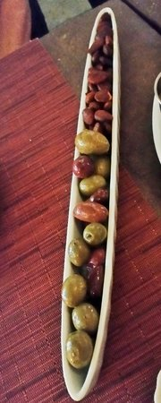 barVino: Mediterranean Olives and Spicy Marcona Almonds.
