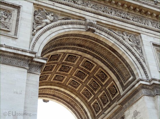 Arc de Triomphe : In this photo you can see some of the detailed designs which go around both the outside of the A
