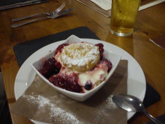 The Pear Tree: white chocolate shortcake and ice cream