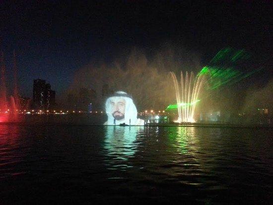 Al Majaz Waterfront: Water slide image of HH Sheikh Sultan Al Qasmi, Ruler of Sharjah