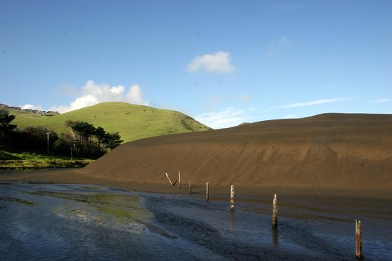 Waitakere Ranges: black sand dunes at Lake Wainamu