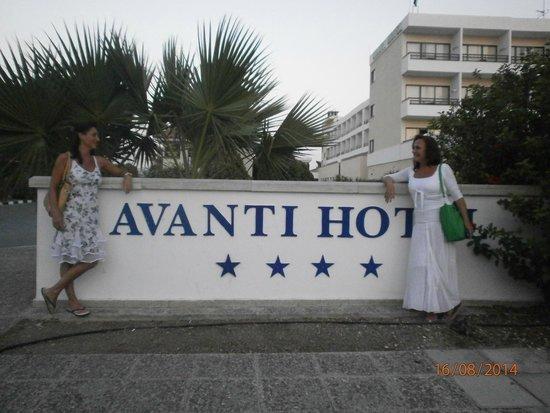 in front of Avanti Hotel