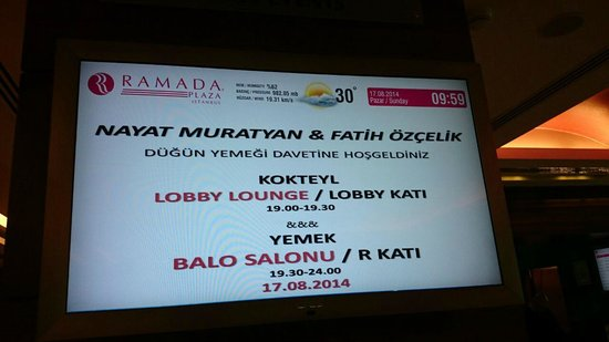 Ramada Plaza Istanbul City Center: Düğün yemeği bilgilendirme
