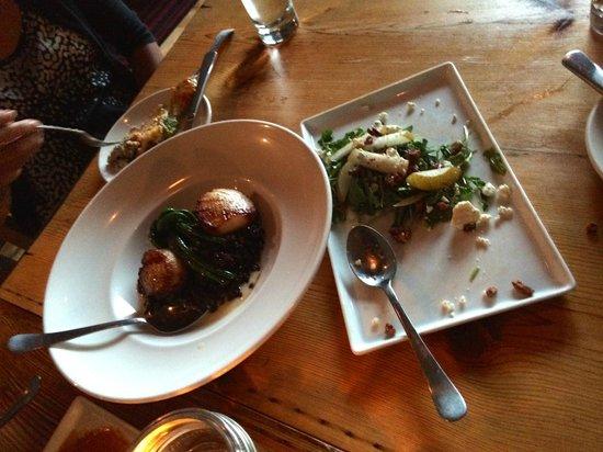 Libertad : Scallop dish and Asian pear & arugula salad