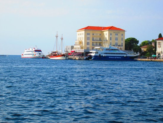 Valamar Rubin Hotel: Vanaf de Adriatische zee op de boot.