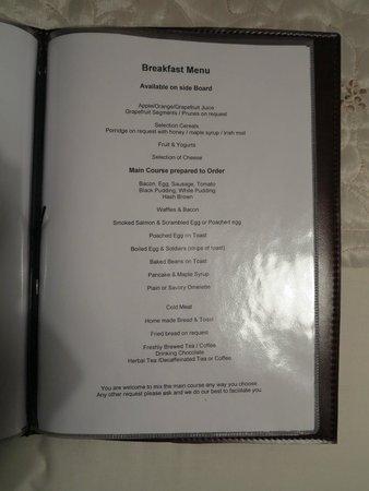 Tom & Eileen's Farm: Le menu du petit déjeuner