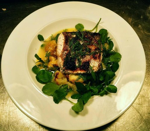 The Exmoor Beastro: Woodfire roasted hake in white wine and dill with watercress and crushed new potatoes
