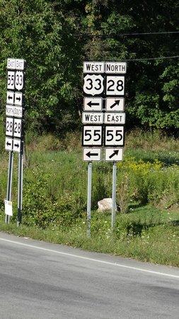 Yokum's Vacationland: Cross road signage