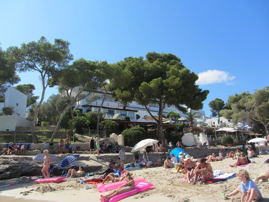Hotel Cala d'Or: The view of the hotel from the beach.