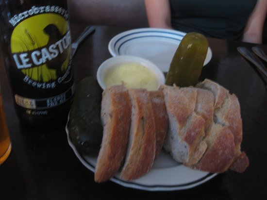 Joe Beef: bread and pickles cost 2.5