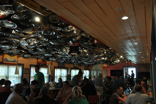 Chuy's: Crazy hubcap ceiling!