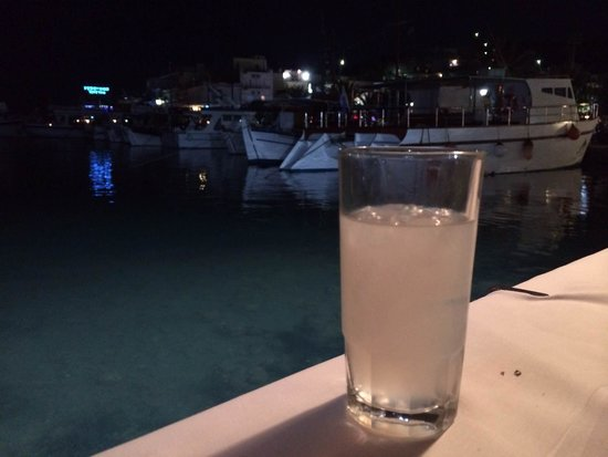 Vritomartes Restaurant: Chilled Ouzo after dinner!