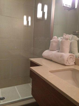 Mill Street Inn: Un douche moderne en verre, très propre