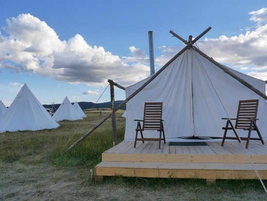 Yellowstone Under Canvas : View of our Tipi/Tent