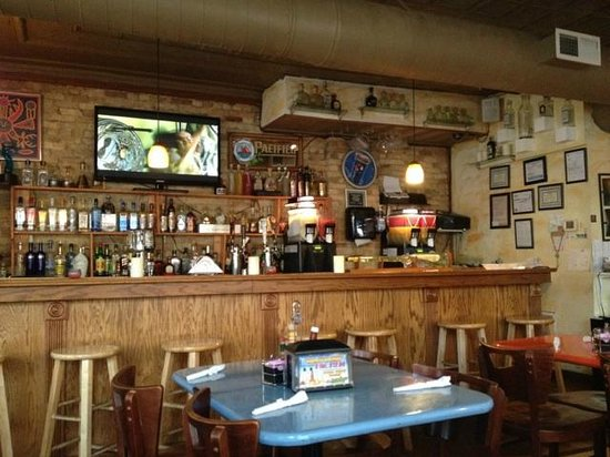 Edgerton, WI: the bar  tv was playing The Matrix Reloaded the day we went