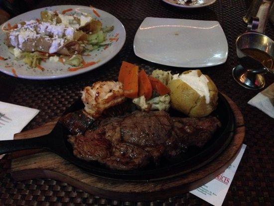 Fayne's: Steak and lobster with chicken empanadas