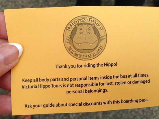 Victoria Hippo Tours : Hippo ticket