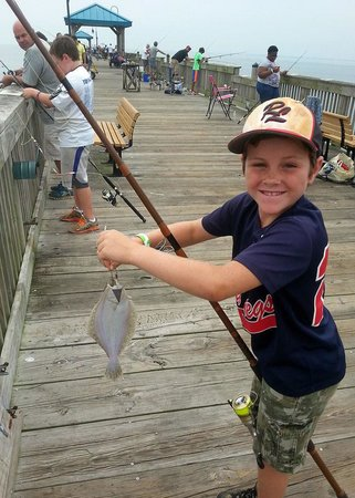 Buckroe Beach and Park: First flounder of the day