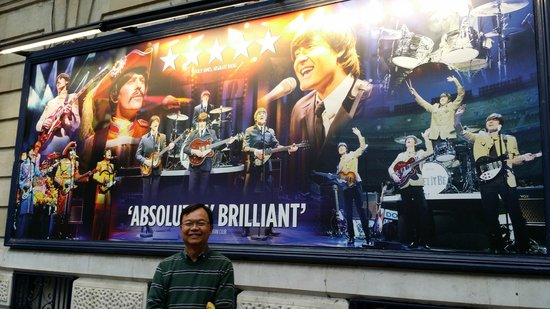 The writer in front of Garrick Theatre, London, England, August  21, 2014
