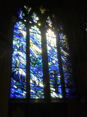 Gloucester Cathedral: 1 of the set of 3 blue and yellow windows