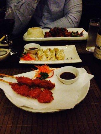 Yorokobi by CJ: Scallop tempura, spicy tuna maki, chicken gyoza and chicken teriyaki