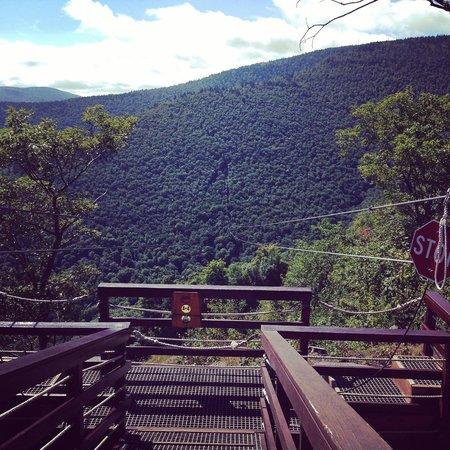 New York Zipline Adventure Tours: It's a long way down.. 1st zip line.  Deep breath then go!