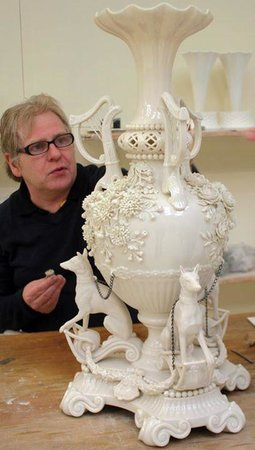 Belleek Pottery & Visitor Centre: John putting the finishing touches to the International Centrepiece
