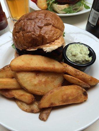 Halloumi burger with fries and basil mayo